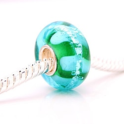 Murano-inspired Glass Aqua Blue Foil Charm Beads (set of 2)