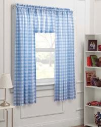 Blue/ White Check 63-inch Curtain Panel 3-piece Set