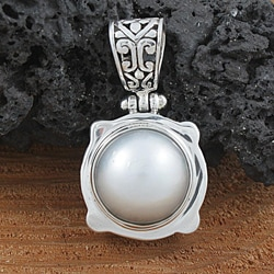 Sterling Silver and Mabe Pearl Pendant (12mm) (Indonesia)