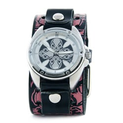 Nemesis Women's Compass Skull Leather Band Watch