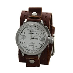 Nemesis Men's Oversized Brown Leather Band Watch