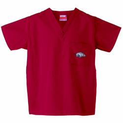 Gelscrub Unisex Red Arkansas Razorback Scrub Top