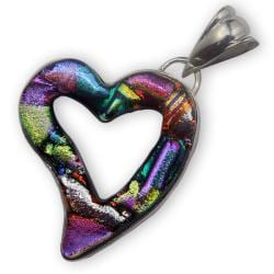 Sterling Silver and Dichroic Glass Cut-out Heart Pendant (Mexico) 7648274