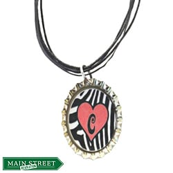 Red Heart Monogram Bottle Cap Necklace