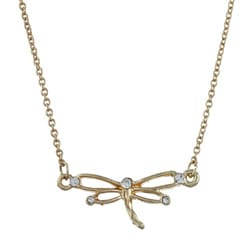 Goldtone Created Stone Dragonfly Charm Necklace
