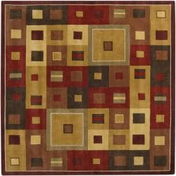 Hand-tufted Contemporary Red/Brown Geometric Square Mayflower Burgundy Wool Abstract Rug (4' Square)