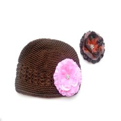 Crochet Hat with Pink and Brown Flower Clip Set