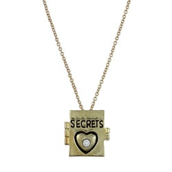Goldtone Czech Crystal 'Book of Secrets' Charm Necklace