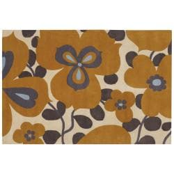 Amy Butler Gold Floral Hand-tufted New Zealand Wool Rug (5' x 7'6)