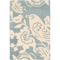 Thomaspaul Ivory Bird Hand-tufted New Zealand Wool Rug (5' x 7'6)