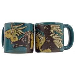 Set of 2 Mara Stoneware 16-oz Horses Mugs (Mexico)