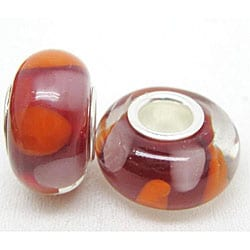 Murano Inspired Glass Orange and Red Charm Beads (Set of 2)