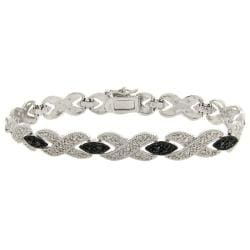 Finesque Sterling Silver 1/10ct TDW Black Diamond 'X' Bracelet