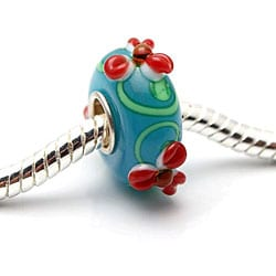 Murano Inspired Glass Blue/ Green/ Red Flower Charm Beads (Set of 2)