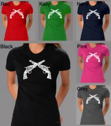 Los Angeles Pop Art Women's Crossed Pistols T-shirt