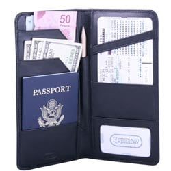 International Travel Black Leather Wallet