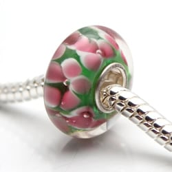Murano Inspired Glass Pink Flower and Green Charm Beads (Set of 2)
