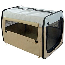 Folding Zippered Large Khaki Pet Dog Crate Carrier