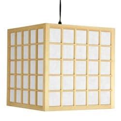 Wood 12.5-inch Japanese-style Window Pane Hanging Lantern (China)
