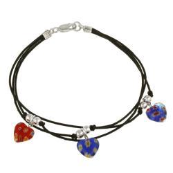Glitzy Rocks Sterling Silver Multi-colored Venetian Glass Heart Charm Bracelet 7692013