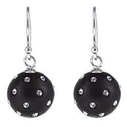 La Preciosa Sterling Silver and Black Enamel Crystal Circle Earrings