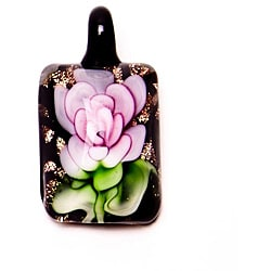 Murano-inspired Glass Pink Flower Rectangle Pendant