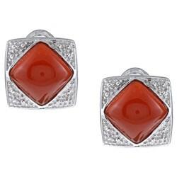 Kabella Sterling Silver Dyed Red Jade Stud Earrings