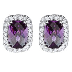 La Preciosa Sterling Silver Purple and Clear Cubic Zirconia Earrings
