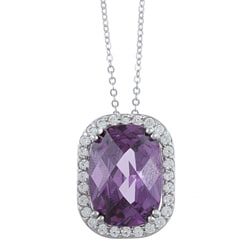 La Preciosa Sterling Silver Purple and Clear Cubic Zirconia Necklace