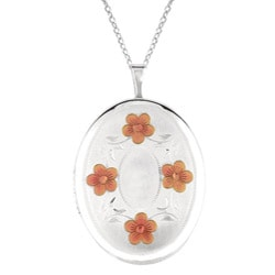 Sterling Silver Engraved Flower Locket Necklace