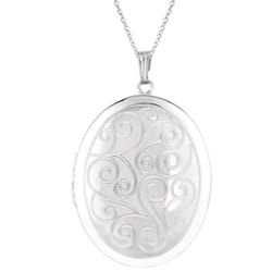 Sterling Silver Engraved Oval Locket Necklace