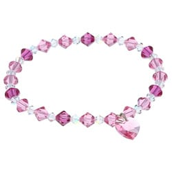 Crystale Sterling Silver Pink and Clear Crystal Heart Stretch Bracelet