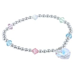Crystale Silverplated Pastel-colored Crystal Heart Stretch Bracelet