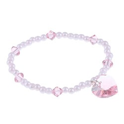 Crystale Silverplated Pink Crystal/ Faux Pearl Heart Stretch Bracelet
