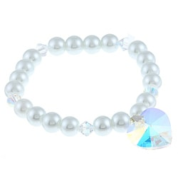 Crystale Silver Crystal and White Faux Pearl Heart Stretch Bracelet