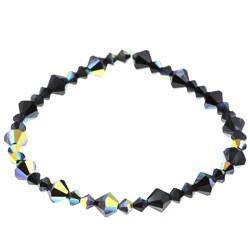 Crystale Jet and AB Crystal Stretch Bracelet