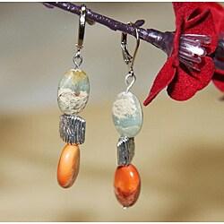 Susen Foster Silverplated Opal 'African Safari' Earrings 7706050