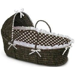 Espresso Hooded Moses Basket in Brown Polka Dot
