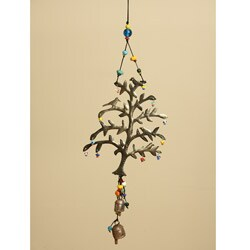 Iron and Glass Tree of Life Bell Hanging Art (India)