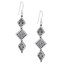 MSDjCASANOVA Argentium Silver Aztec Triple Diamond-shaped Earrings