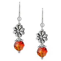 MSDjCASANOVA Argentium Silver Fire Flower Crystal Earrings