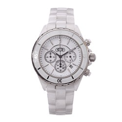 Ceramic Couture Men's White Chronograph Ceramic Bracelet Watch