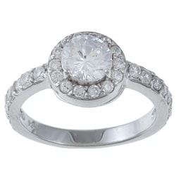 Sterling Silver Round-cut Cubic Zirconia Engagement-style Ring