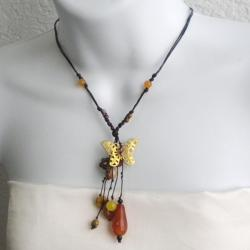 Carnelian and Quartz Butterfly Drop Necklace (Thailand)
