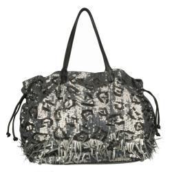 Valentino 7WB00611 Leather Sequin Embellished Shopper Bag