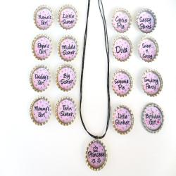 Light Pink Fun Sayings Bottle Cap Necklace