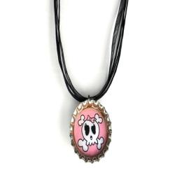 Light Pink Skull Bottle Cap Necklace