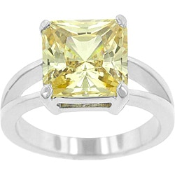 Kate Bissett Silvertone Yellow Princess-cut Cubic Zirconia Solitaire Ring