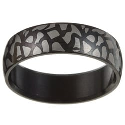 Surgical Steel Black Crackle Print Ring