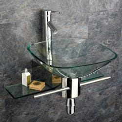 Kokols Wall Mount Vanity and Glass Vessel Sink Combo 7770110